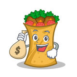 With money bag kebab wrap character cartoon. Vector illustration stock illustration