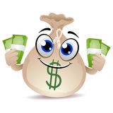 Money Bag Mascot holding a Cash Royalty Free Stock Photo