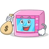 With money bag oven microwave character cartoon royalty free illustration