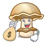 With money bag portobello mushroom character cartoon Royalty Free Stock Image