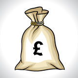 Money bag with pound sign vector illustration.  Royalty Free Stock Image