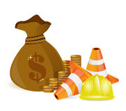 Money bag and protected barrier Royalty Free Stock Photos