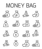 Money bag related vector icon set. Well-crafted sign in thin line style with editable stroke. Vector symbols isolated on a white background. Simple pictograms Stock Images