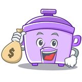 With money bag rice cooker character cartoon Stock Images