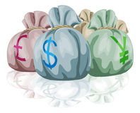 Money bag sacks containing currencies Stock Image