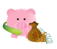 Money bag with savings Stock Images
