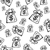 Money bag, seamless  background Royalty Free Stock Photos