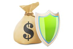Money bag with shield. Financial insurance concept, 3D rendering. Isolated on white background Stock Photos