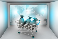 Money bag with shopping trolley Stock Image