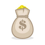 Money bag sign flat icon. Money bag or sack vector icon. Flat style icon Bag with gold coin and dollar sign isolated on white background Stock Image