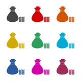 Money bag sign icon, color icons set. Simple vector icon Stock Photography