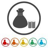 Money bag sign icon. 6 Colors Included. Money bag sign icon. Dollar USD currency symbol, 6 Colors Included, simple vector icons set Stock Photo