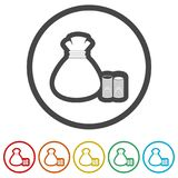 Money bag sign icon. 6 Colors Included. Money bag sign icon. Dollar USD currency symbol, 6 Colors Included, simple vector icons set Stock Photos