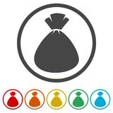 Money bag sign icon. 6 Colors Included. Money bag sign icon. Dollar USD currency symbol, 6 Colors Included, simple vector icons set Royalty Free Stock Photo