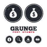 Money bag sign icon. Dollar USD currency. Stock Photos