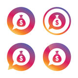 Money bag sign icon. Dollar USD currency. Royalty Free Stock Photos