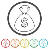 Money bag sign icon. Dollar USD currency symbol, 6 Colors Included. Simple vector icons set Royalty Free Stock Image