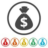 Money bag sign icon. Dollar USD currency symbol, 6 Colors Included. Simple vector icons set Stock Photography