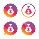 Money bag sign icon. Dollar USD currency. Stock Image