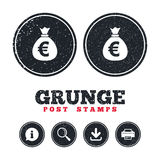 Money bag sign icon. Euro EUR currency. Royalty Free Stock Images