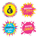 Money bag sign icon. Euro EUR currency. Stock Photography