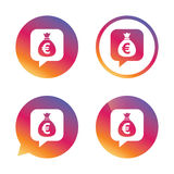 Money bag sign icon. Euro EUR currency. Royalty Free Stock Photography