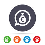 Money bag sign icon. Euro EUR currency. Royalty Free Stock Photos