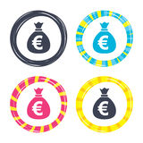 Money bag sign icon. Euro EUR currency. Royalty Free Stock Photo