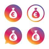 Money bag sign icon. Euro EUR currency. Stock Images