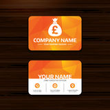 Money bag sign icon. Pound GBP currency. Royalty Free Stock Photos