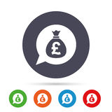 Money bag sign icon. Pound GBP currency. Royalty Free Stock Photo