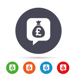 Money bag sign icon. Pound GBP currency. Stock Photography