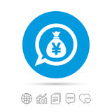 Money bag sign icon. Yen JPY currency. Stock Images