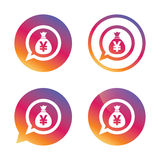 Money bag sign icon. Yen JPY currency. Royalty Free Stock Images