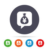 Money bag sign icon. Yen JPY currency. Stock Image