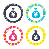 Money bag sign icon. Yen JPY currency. Stock Photography
