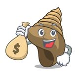 With money bag spiral shell character cartoon vector illustration