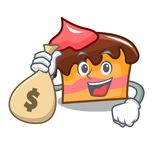 With money bag sponge cake character cartoon. Vector illustration Royalty Free Stock Images