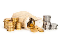 Money in bag and stack of coins Stock Images