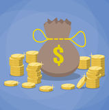 Money bag and stacks of gold coins. Stock Photos