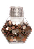 Money bag with sterling coins in a jar Stock Photo