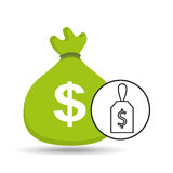 Money bag sticker icon graphic Royalty Free Stock Photo