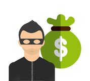 Money bag and thief icon. Bank and Money design. Vector graphic. Bank and Money concept represented by money bag and thief icon. Colorfull and flat illustration Stock Photography