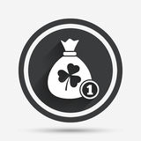 Money bag with three leaves clover sign. Royalty Free Stock Images