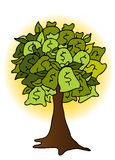 Money Bag Tree Drawing. An image of a money bag tree drawing with glowing sun background Royalty Free Stock Photo