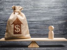 Money bag with up arrow and man figurine on scales. Criteria and requirements for increasing the work of a specialist. Determination of fair wages. The average stock images