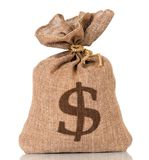 Money bag. With US dollar sign, isolated on white background Royalty Free Stock Photo