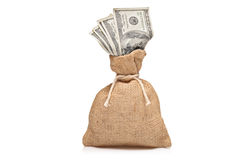 A money bag with US dollars. Isolated on white Royalty Free Stock Photos