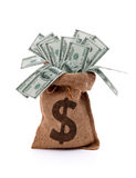 Money bag. US paper currency one hundred dollar bill money in burlap sack bag royalty free stock photography