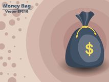 Money bag vector EPS10 icon with dollar sign. color and Backgrou. Nd. Gift and decorative element. vector illustration Stock Images